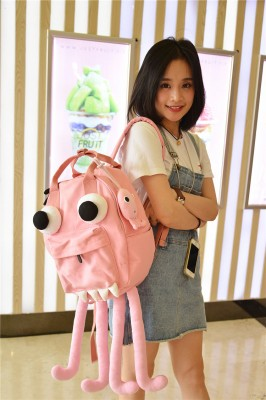 Creative Original Design Octopus Bag Handmade canvas backpacks Shoulder Bags Candy Color Yellow Pink Round Bags