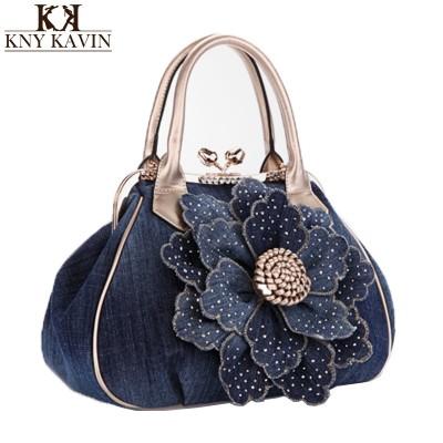 Women Handbags New Women Handbag With A Big 3D Flower,High Quality Denim Leather Tote Bag Female Large Shoulder Messenger Bags