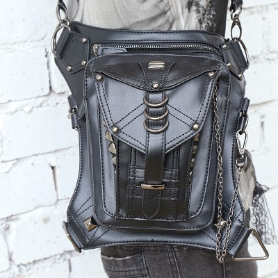 Steam punk retro rock messenger bag general mobile phone bag mini leg bag travel waist bag pack