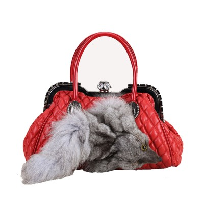 100% genuine Fox Fur Bag for Women Leather Messenger Tote Handbags Ladies Shoulder Bags Gift Crossbody bags evening bags X692