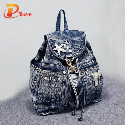 American apparel denim backpack Women's Backpack denim backpack teenage Girls vintage Travel bag shoulder bags black blue denim backpack
