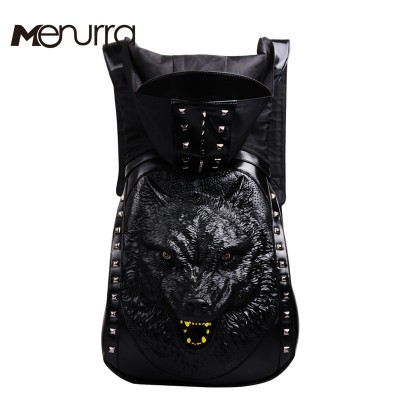 2017 Fashion Personality 3D skull Wolf leather backpack rivets skull backpack with Hood cap apparel bag cross bags hiphop man