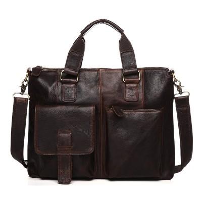 New 100% Real First Layer Cowhide Leather Men Slit Pocket Briefcase Vintage Messenger Travel Portfolio 15 Inches Laptop Bag