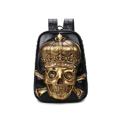 High Quality ! 3 0 x 42 x 12cm Women's 3D Skull Head Backpack Skeleton Synthetic Leather Laptop School Bag