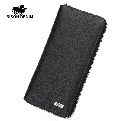 BISON DENIM 2017 Brand Designer Top Cowhide Leather Men's Long Wallet Clutch Wrist bag black wallets and purses card holder