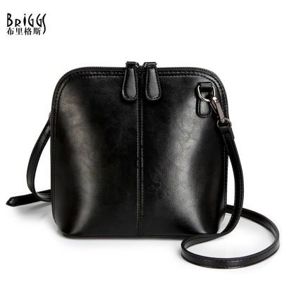 BRIGGS Fashion Women's Genuine Leather Shoulder Bags Vintage Women Shell Messenger Bag 2017 Designer Brand Small Crossbody Bags