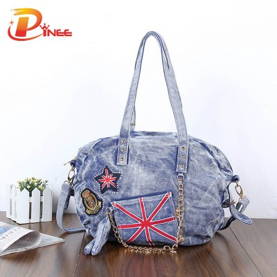Vintage Denim Shoulder Handbags 2017 Fashion Women Bag Lady Large Capacity Handbag Joker Denim Shoulder Bag Cool Punk Jeans  Tote