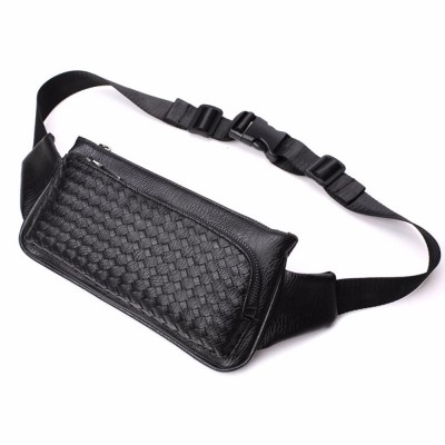 Leather Fanny Pack New Men's PU Leather weaving Messenger Shoulder Chest  Bags Purse Bum Hip Belt Fanny Bag Waist Pack Travel Male Black