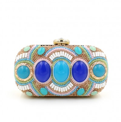 bolsa feminina Blue Stone Beaded Pearl Rivets Chains Metal Black Evening Clutch Bag Upscale Styling Purse Day Clutches On Sale