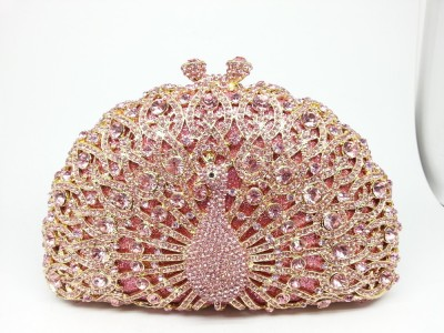 13Color Metal Minaudiere Pink Crystal Peacock Clutches Handbags Ladies Evening Party Clutch Rhinestone Wedding Bridal Bags Purse