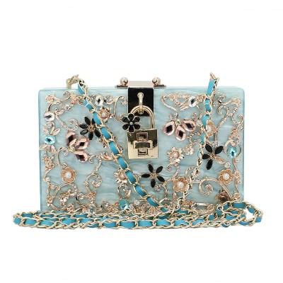 Italy brand diamond relief Acrylic Ballot lock  luxury handbag evening bag clutch  for party purse (C161)