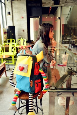 Creative robots love candy color splicing hit color handmade canvas backpacks shoulder bags computer bags travel bags