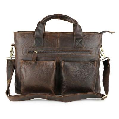"Vintage Chocolate Real Skin Mens Briefcase Genuine Leather Male Messenger Bags Soft Cowhide Portfolio 15"" Laptop Totes Handbag"