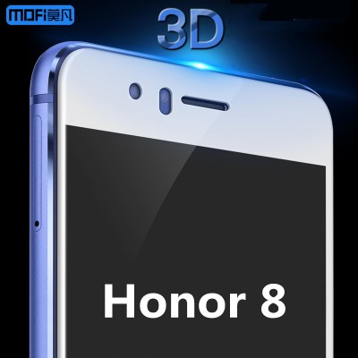 Huawei honor 8 screen protector tempered glass MOFi original full cover 3D soft edge frame honor 8 protective glass blue white Phone Cases For huawei