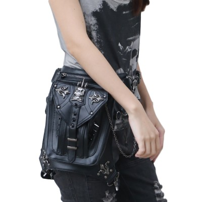 High Quality PU Leather Unisex Motorcycle Hip Leg Bag Fanny Pack Punk Rock Vintage Messenger Shoulder Bag Men$Women Waist Bag