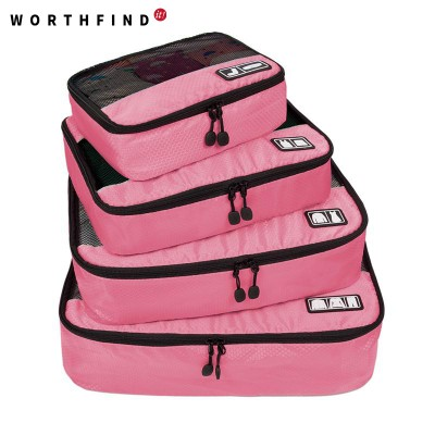 2017 New Breathable Travel Bag 4 Set Packing Cubes Luggage Packing Organizers with Shoe Bag Fit 23 Carry on Suitcase