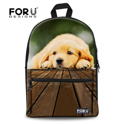 FORUDESIGNS Hot Children 3D Animals School Bags Kids Canvas Schoolbag For Boys Girls Cute Dog Backpack Student Mochila Bookbag