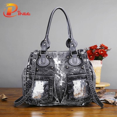 Vintage Denim Shoulder Handbags 2017 New Fashion Retro Paillette Women jean Bag handbag ladies cool Denim bag shoulder bag Messenger Bag