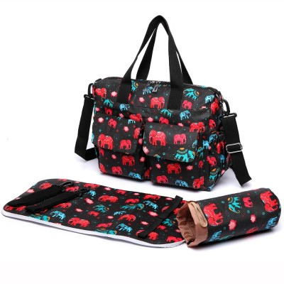 Miss Lulu 3 Pieces New Elephant Print Baby Changing Bag Set Mummy Nappy Large Handbag Tote Wipe Clean E6603