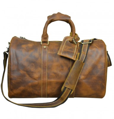 Men's vintage crazy horse leather travel bag 18 Brown genuine leather travel duffle cowhide large capacity tote bag