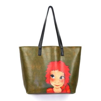 Bolsas Feminina Pequenas Soft Genuine Leather Cow Character Printing Tote Shoulder Bags Designer Handbag Large Handbags Women