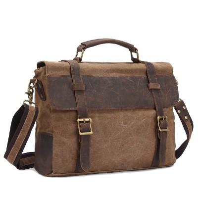 2017 Time-limited New Arrival Vintage Crossbody Bag Military Canvas Crazy Horse Leather Men Messenger Handbag Tote Briefcase