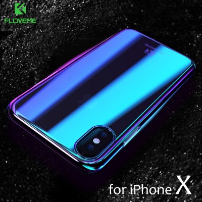 Phone Case For iPhone X Luxury Blue Ray Fashion Mobile Accessories Gradient Hard Case for iPhone X 5.8 inch Conque Capa