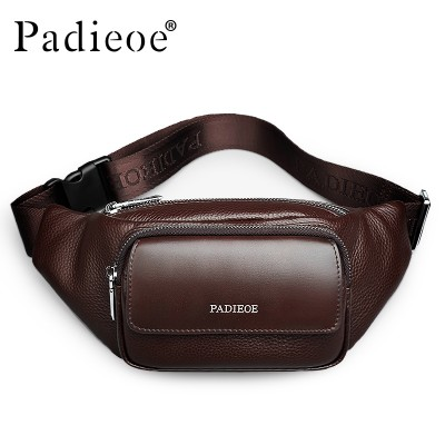 Padieoe Genuine Leather Men's Waist Packs New Designer Leather Casual Waist Pack High Quality Unisex Waist Belt Bag Waist Bag