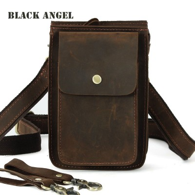 "Leather Fanny Pack Cool genuine Leather cowhide men's casual waist pack bag tide 7"" phone bag small shoulder messenger bag fanny belt bag"