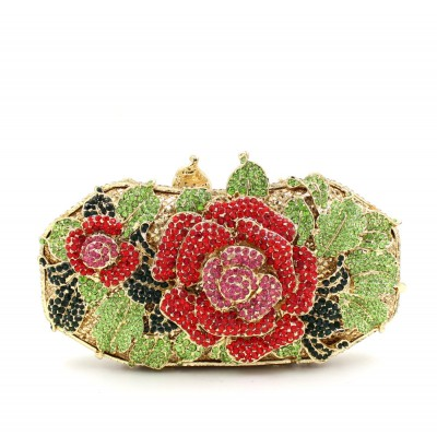 Rose flower Luxury crystal Diamond Clutch bags bling rhinestone evening bags Gold women evening clutch bags Shouder party bag