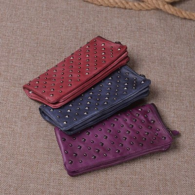 2017 Top Time-limited Women Vintage Retro Designer Ladies Genuine Leather Rivet Wallet Zipper 4 Colors Long Card Purse Female
