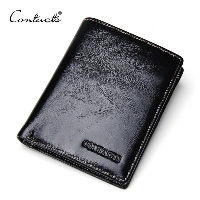 CONTACT'S High Quality Oil Wax Leather Standard Wallets Men Wallet Cowhide Real Leather Brand Design Coin Bag Card Travel Purse