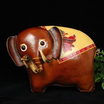 Vivid 3D Adorable Genuine Leather Small Childrens Cartoon Elephant Bag Handmade Shoulder Messenger Small Crossbody Bag Case