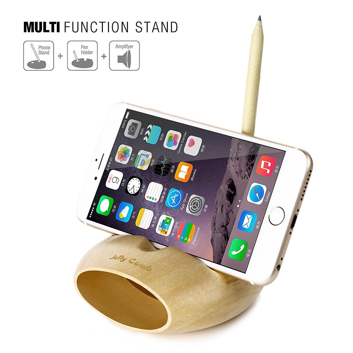 Cell Phone Charging Dock Jelly Comb Desk Wood Holder Stand Mobile Sound Amplifier For