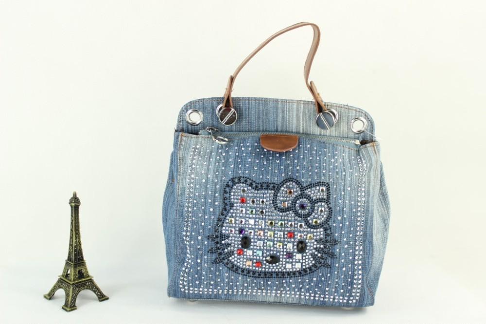 Rhinestone Handbags Designer Denim Women Bag 2017 Fashion Female Jeans Shoulder Bags Cat