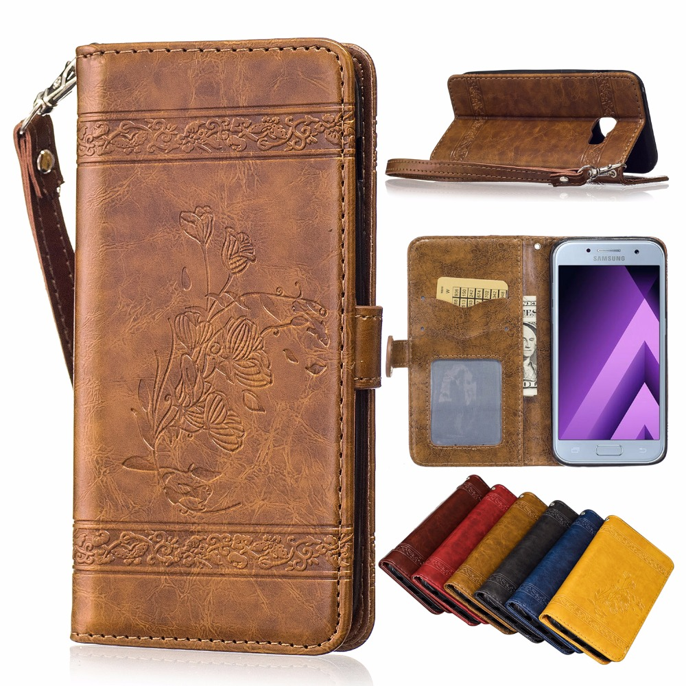 For Samsung Galaxy A5 2016 2017 Case Retro Embossed Leathertpu Original Clear Cover Casing A510 Wallet Coque Capinhas