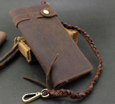 Cowhide Handmade crazy horse leather Biker Wallet Purse + Intertexture Chain