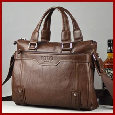 2015 Famous Brand POLO Fashion Men Messager Bags Business Genuine Leather Bag Retro Briefcase Handbag,Men's Travel Laptop Bags