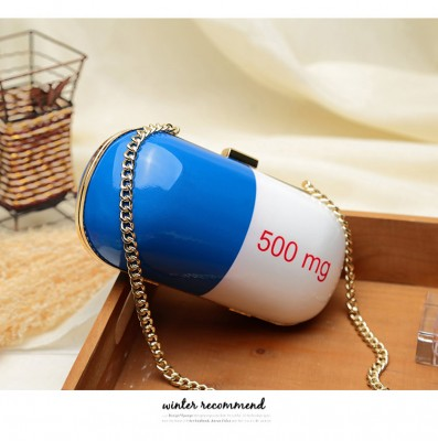 New fashion 500g pill bag star style personalized design womens unique party bag evening messenger bags funny handbag Fun Popular Cheap Fashion Unique Purses and Handbags With Chain Strap