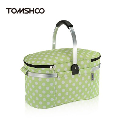 30L Foldable Picnic Basket Outdoor Insulated Storage Basket Picnic Bag Folding Aluminum Handle 46 * 25 * 24cm