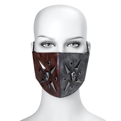 Original New Women Punk Rock Rivet Leather Masks Personality Motobike Mask Halloween Party Steampunk Mask