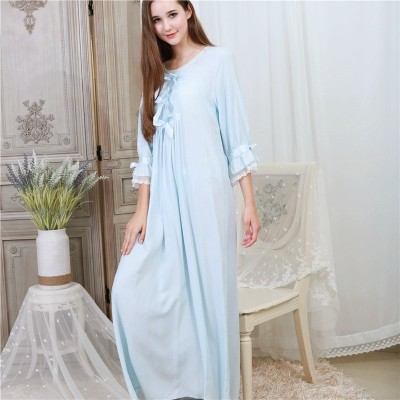 Green Cotton Bowknot Lace Night Dress Autumn Sleepwear Women Nightgown Long Nightdress Plus Size Nightwear Ladies Homewear
