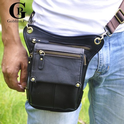 Leather Fanny Pack Cowhide! Black,Brown Men Bags Men's Genuine Leather Travel Motorcycle Riding Messenger Fanny Pack Waist Thigh Drop Leg Bag