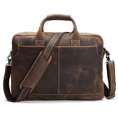 vintage 100% genuine leather business briefcase multifunctional  laptop bag Crazy Horse Handmade Shoulder Bag Messenger Bag
