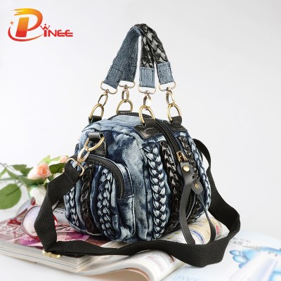 Vintage Denim Shoulder Handbags Casual Women Denim Bag Women Small Shoulder Bags Vintage Blue Jeans Crossbody Bag Ladies Purse