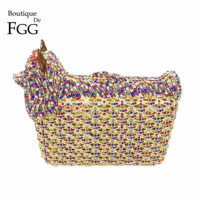 Animal Shape Luxury Party Crystal Bags Women Diamond Evening Clutches Purse Wedding Prom Clutch Bag Ladies Small Dog Handbags