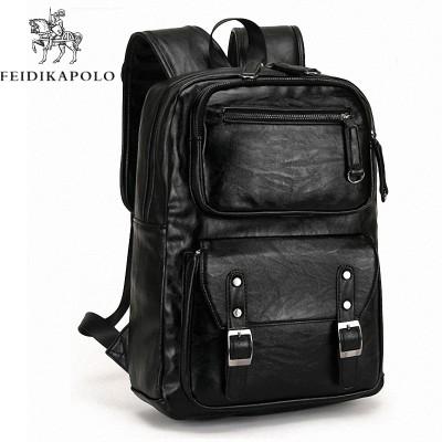 f0e6475d75cf Leather Men s Backpack Male Bookbag Black Waterproof Mochila Masculina  Knapsack Travel Mens Backpacks Mochilas Para Hombre