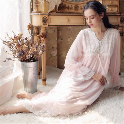 European Palace Style Vintage Night Dress Plus Size Lace Sleepwear New Spring Long Pink Cotton Nightgowns Elegant Home Dress
