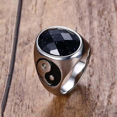 Mens Rings Vintage Stainless Steel Oval Multi Faceted Blueish Galaxy Stone Cocktail Band Ring Men Fashion Jewelry Accessories