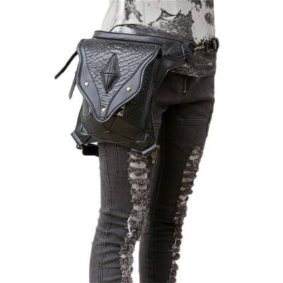 Black Steampunk Leg Bag for Women Men Messenger Shoulder Bag MINI Backpack Vintage Waist Bag Hip Holster Wallet Purse Pouch SteamPunk Leg Thigh Bag